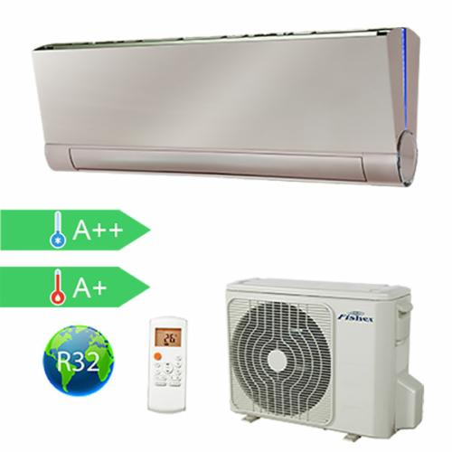 FISHER FSAUIF-Art-93AE3-G/FSOAIF-Art-92AE3 (kültéri + beltéri egység) Oldalfali split klíma(GOLDEN) 2,64 kW,Hősz, Inverter , R32, WIFI csatlakozási opció