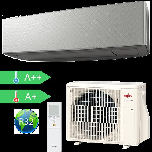 FUJITSU ASYG07KETA-B/AOYG07KETA (kültéri + beltéri egység) Oldalfali split klíma (Szürke) 2.0 kW Hősz. Inver. R32